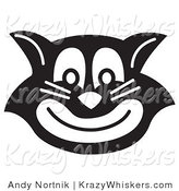 Critter Clipart of an Evil Black and White Cat Grinning by Andy Nortnik