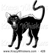 Critter Clipart of an Evil Black Cat Arching Its Back, Twitching Its Tail and Hissing at the Viewer by Lawrence Christmas Illustration