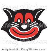 Critter Clipart of an Evil Black Cat with Red Eyes and Mouth Smiling by Andy Nortnik
