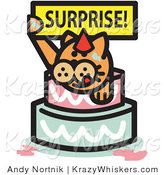 Critter Clipart of an Orange Birthday Cat Holding a Surprise Sign and Popping out of a Birthday Cake by Andy Nortnik