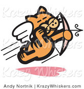 Critter Clipart of an Orange Cat Flying like a Romantic Cupid and Shooting Arrows with a Bow on Valentine's Day by Andy Nortnik