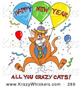Critter Clipart of an Orange Cat in a Blue Vest and Tie, Holding onto Balloons and Surrounded by Confetti at a Party, with Happy New Year All You Crazy Cats Text by LaffToon
