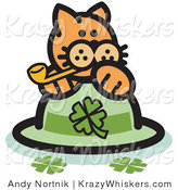 Critter Clipart of an Orange Cat on a Shamrock St Patrick's Day Hat, Smoking a Pipe by Andy Nortnik