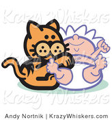 Critter Clipart of an Orange Cat Playing with a Newborn Baby by Andy Nortnik