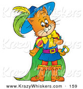 Critter Clipart of an Orange Cat, Puss in Boots, in Colorful Clothes and Cape by Alex Bannykh