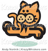 Critter Clipart of an Orange Cat Running and Looking Back over His Shoulder by Andy Nortnik