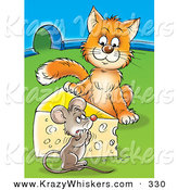 Critter Clipart of an Orange Cat Standing on the Other Side of a Cheese Wedge, Staring at a Frightened Mouse near a Mouse Hole by Alex Bannykh
