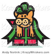 Critter Clipart of an Orange Cat Stuck in a Green Ribbon Bow on a Christmas Gift by Andy Nortnik