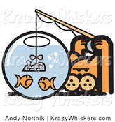 Critter Clipart of an Orange Cat Trying to Catch Goldfish in a Bowl by Using a Mouse As a Fishing Lure by Andy Nortnik