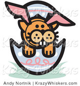 Critter Clipart of an Orange Cat Wearing Easter Bunny Ears and Buck Teeth and Sitting in an Easter Egg by Andy Nortnik