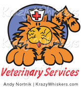 "Critter Clipart of an Orange Cat with Crazy Whiskers Wearing a White Nursing Hat with a Red Cross on It Above Text Reading ""Veterinary Services"" by Andy Nortnik"