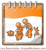 Critter Clipart of an Orange Family Showing a Businessman Kneeling Beside His Wife and Newborn Baby with Their Dog and Cat on a Notebook, Symbolizing Family Planning by Leo Blanchette