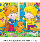 Critter Clipart of an Orange Kitty Cat Playing with a Happy Boy and Girl in a Messy Bedroom by Alex Bannykh