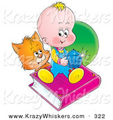 Critter Clipart of an Orange Kitty Looking at a Baby Sitting on a Book and Holding a Blue Gem by Alex Bannykh