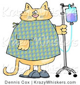 Critter Clipart of an Orange Tabby Cat with an IV Drip on a Stand in a Hospital by Dennis Cox