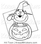 Critter Clipart of an Outlined Halloween Cat - Royalty Free by Hit Toon