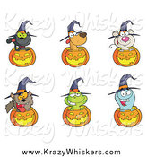 Critter Clipart of Animals and Jack O Lanterns by Hit Toon