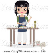 Critter Clipart of AWhite Cat Resting by a Table Where Black Haired Caucasian Woman Prepares Food by Melisende Vector