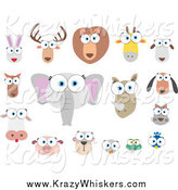 Critter Clipart of Big Eyed Animal Faces by Qiun