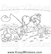Critter Clipart of Black and White Children and a Cat Fishing by Alex Bannykh