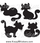 Critter Clipart of Black Cat Silhouettes by Visekart