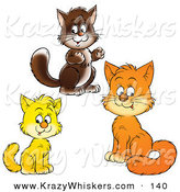 Critter Clipart of Brown, Yellow and Orange Kitty Cats Looking at the Viewer on White by Alex Bannykh