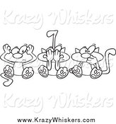 Critter Clipart of Cartoon Lineart No Evil Cats by Toonaday