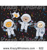 Critter Clipart of Cat, Monkey and Dog Astronauts Partying in Space by BNP Design Studio