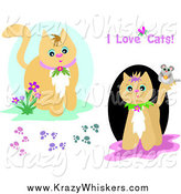 Critter Clipart of Cats, Mice and Paw Prints by