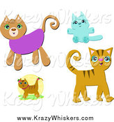 Critter Clipart of Four Cats by