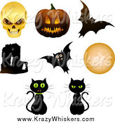 Critter Clipart of Halloween Objects; Skull, Pumpkin, Bats, Cats, Moon and Abbey by Elaineitalia