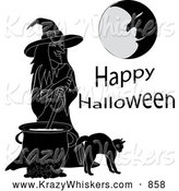 Critter Clipart of Happy Halloween Text with a Moon Man, Witch, Cauldron and Cat by Pams Clipart