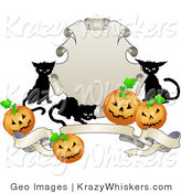Critter Clipart of Three Black Cats and Halloween Jack O Lanterns Around a Shield and Banner by AtStockIllustration