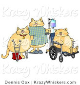 Critter Clipart of Three Hospitalized Orange Cats with IV Dispensers, Crutches, Casts and Wheelchairs by Dennis Cox