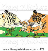 Critter Clipart of Tiger Parents Grooming Their Cute Cub by Dennis Holmes Designs