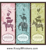 Critter Clipart of Vintage Silhouetted Animal Pyramid Bookmarks with Sample Text by Anja Kaiser