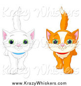 Critter Clipart of White and Ginger Kittens Walking Forward by Pushkin