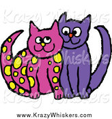 Critter Clipart of Yellow Spotted Pink and Purple Cats Cuddling by Prawny