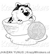 Kitty Clipart of a Black and White Cat with a Ball of Yarn - Royalty Free by YUHAIZAN YUNUS
