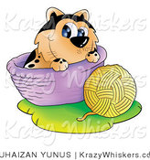 Kitty Clipart of a Cat with a Ball of Yarn and Basket - Royalty Free by YUHAIZAN YUNUS