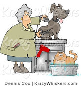 Kitty Clipart of a Groomer Using Clippers and Scissors on a Dog and Bathing a Cat - Royalty Free by Djart