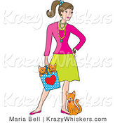 Kitty Clipart of a Stylish Lady with a Cat at Her Feet and Kittens in a Bag - Royalty Free by Maria Bell