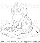 Kitty Clipart of an Outlined Cat with a Fish Bone - Royalty Free by YUHAIZAN YUNUS