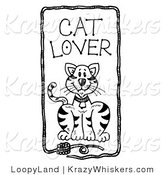 Kitty Clipart of Cat Lover Text over a Feline with a Frame of Yarn - Royalty Free by LoopyLand