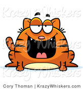 Vector Clipart of a Fat Orange Cat Smiling - Royalty Free by Cory Thoman
