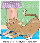 Vector Critter Clipart of a Brown Cat Rubbing Against a Lady's Legs - Royalty Free by Maria Bell