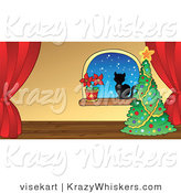 Vector Critter Clipart of a Cat by a Christmas Tree and Poinsettia - Royalty Free by Visekart