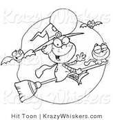 Vector Critter Clipart of a Coloring Page of a Friendly Flying Witch by Hit Toon
