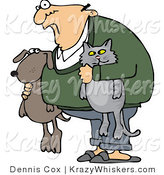 Vector Critter Clipart of a Crazy Old Man with His Pets - Royalty Free by Djart