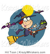 Vector Critter Clipart of a Happy Halloween Witch and Cat Flying Through Bats on a Broom Stick Under a Full Moon by Hit Toon